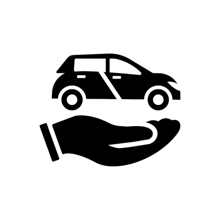 Car in hand - auto insurance icon black Çizim