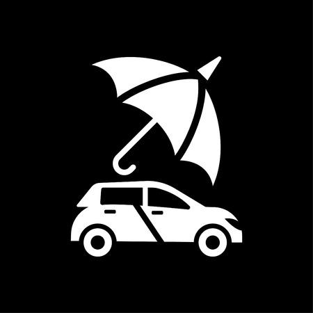 Car Protection - auto insurance icon vector white Çizim