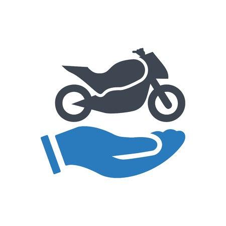 Hands holding bike - auto insurance icon vector blue