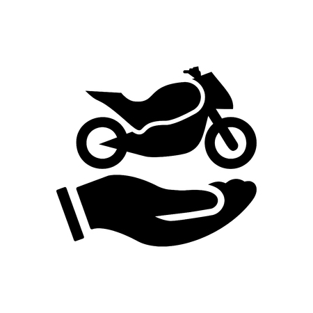 Hands holding bike - auto insurance icon vector black
