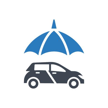Car and umbrella icon - Automobile protection - auto insurance icon vector blue