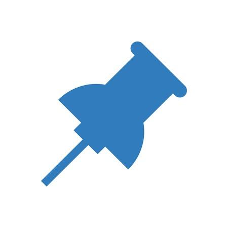Pin icon vector blue