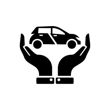 Hands holding car - auto insurance icon vector - transport insurance icon black Çizim
