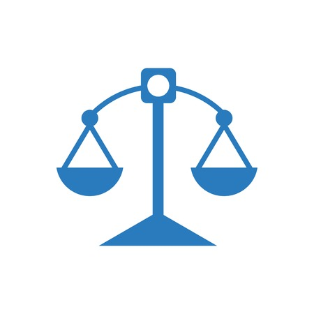 Justice scale icon blue - on white background