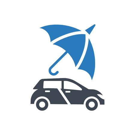 Car Protection - auto insurance icon vector blue
