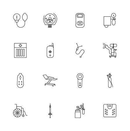 Assorted Medical Devices Icons Set - Linear Design Vector Illustrations Black Vecteurs