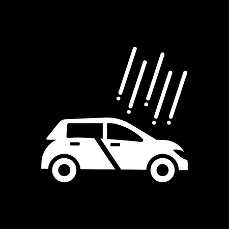 Hail Damage Insurance Icon vector - Car Hail Damage Insurance glyph style white Ilustrace