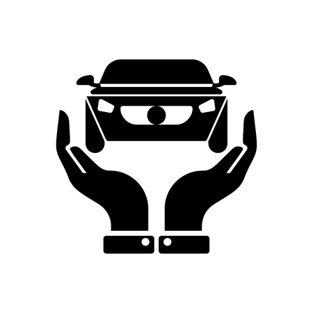 Hands holding car - auto insurance icon vector black