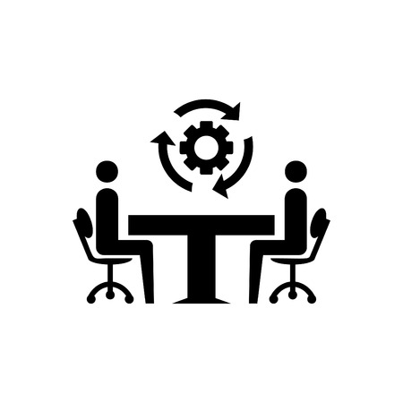 Business consulting and setting glyph icon black