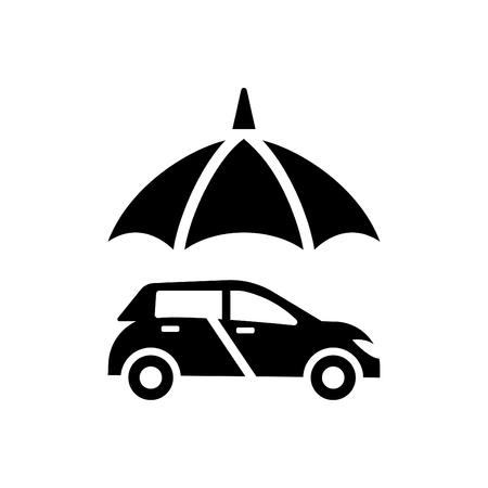 Car and umbrella icon - Automobile protection - auto insurance icon vector black Çizim