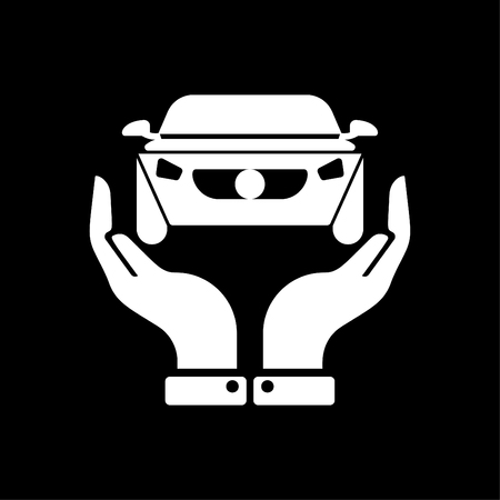 Hands holding car - auto insurance icon vector white