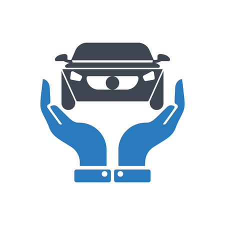 Hands holding car - auto insurance icon vector blue