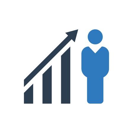 Businessman financial growth icon blue