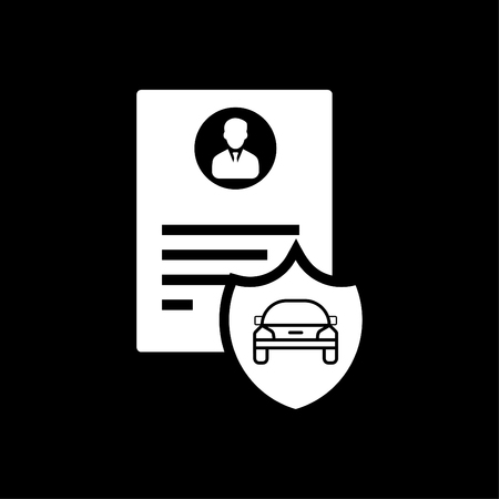 Car driver document identification with photo isolated on black background