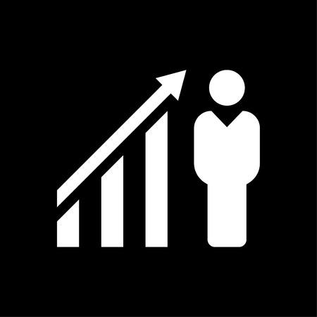 Businessman financial growth icon white
