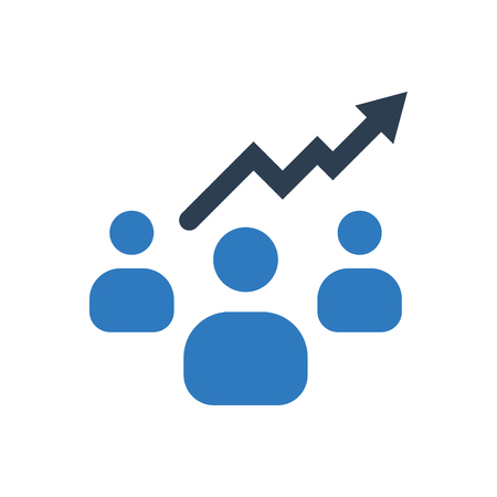 Business people growth icon blue