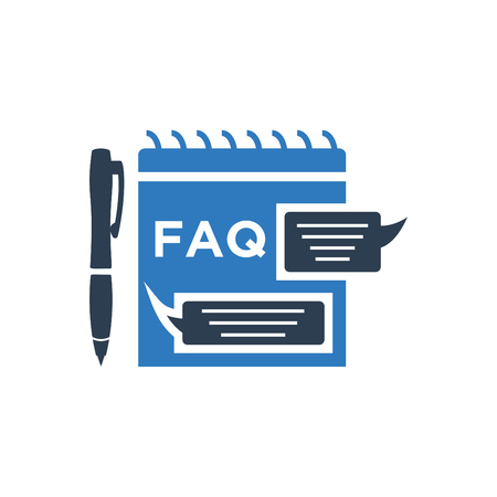 FAQ file document icon - chat speech bubble and chart web icon blue