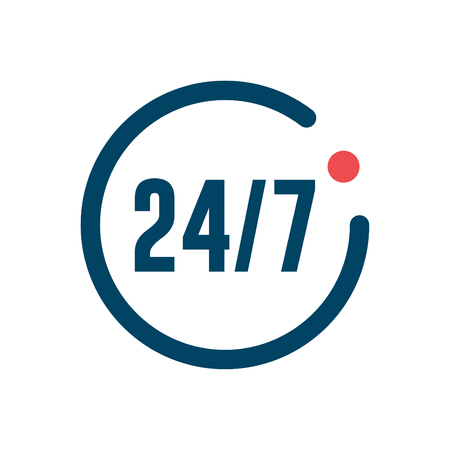 Open 24 hours a day and 7 days a week icon isolated - flat design