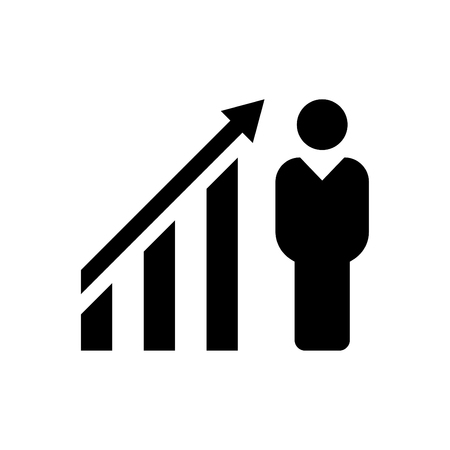 Businessman financial growth icon black Ilustrace
