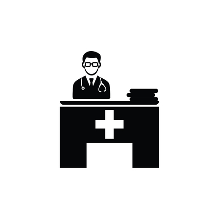 Doctor Checkup Chamber icons Black