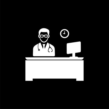 Doctor working time icon White Ilustração