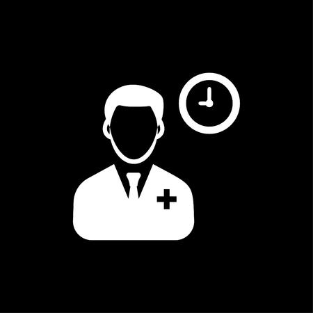 Doctor Schedule Clock icon White Ilustração
