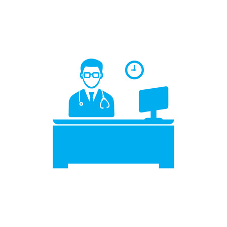 Doctor working time icon Blue