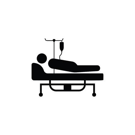 Paciente en la cama del hospital Black