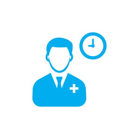 Doctor Schedule Clock icon Blue Ilustração