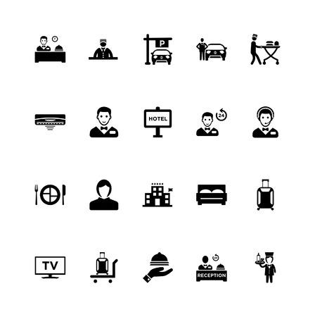 Icônes de service hôtelier set vector noir