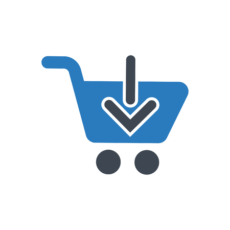 A downward arrow on pushcart concept of add to cart vector blue Illustration