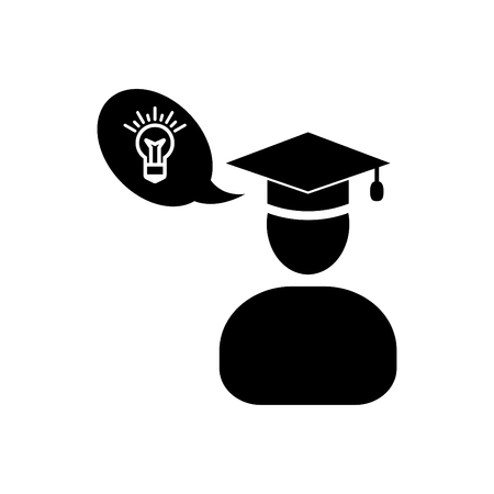 Graduate man and her new ideas of education - icon vector black