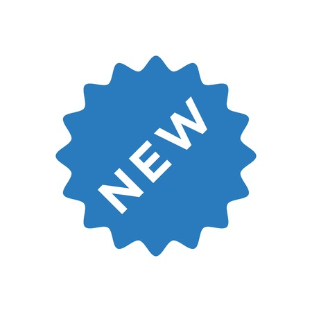 New sign icon - New arrival button symbol vector blue