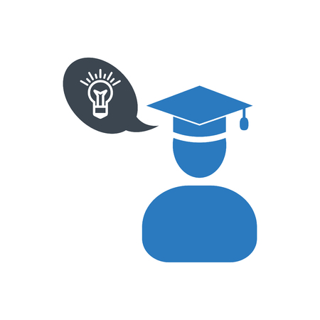 Graduate man and her new ideas of education - icon vector blue