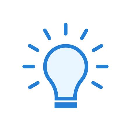 Solution symbol - lamp icon - idea icon vector blue
