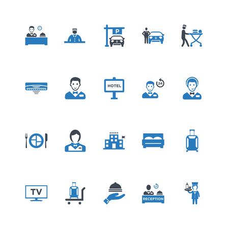 Icônes de service hôtelier définies vector bleu Vecteurs