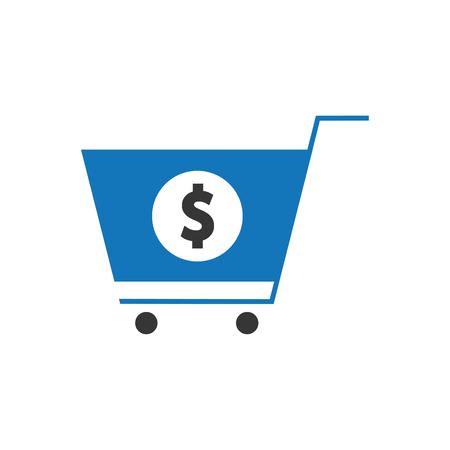 Dollar Cart Icon Blue