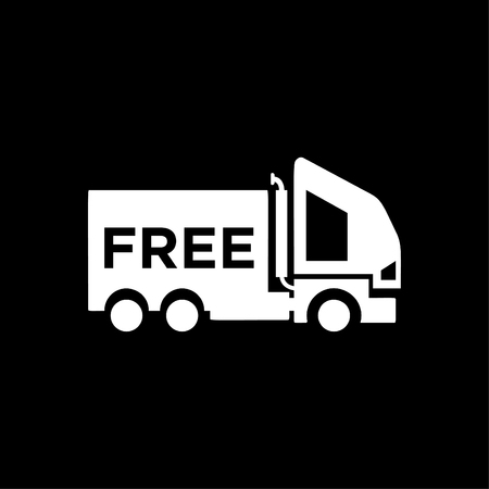 Free delivery car icon - shipping truck vector white Illustration