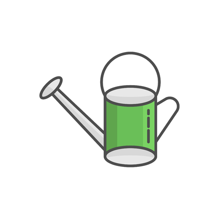 Watering can flat linear colorful icon - Irrigation symbol