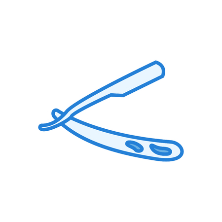Razor line icon - razor linear vector blue