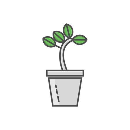 Potted plant linear colorful icon vector