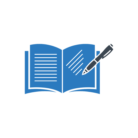 Book with pen icon - Vector blue