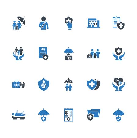 Health Insurance Icons set - blue