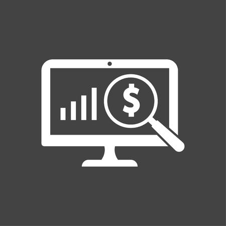Business Profit Analysis Icon White 向量圖像