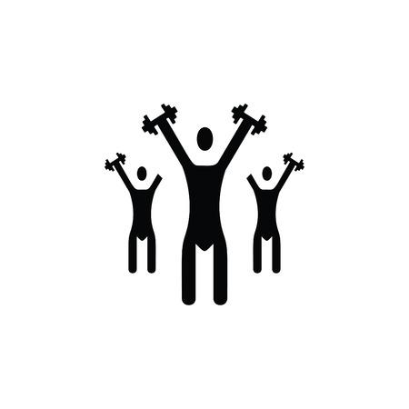Three men doing exercise black icon