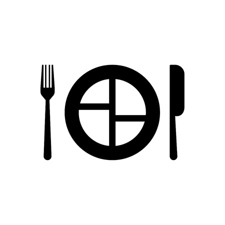 Plate, spoon and fork vector icon for the restaurant - vector icon black