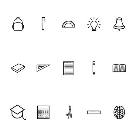 Education icons line art vector black - linear style education icons set 向量圖像