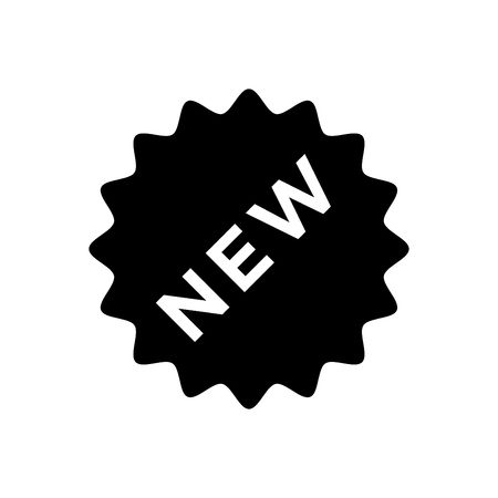 New sign icon - New arrival button symbol vector black