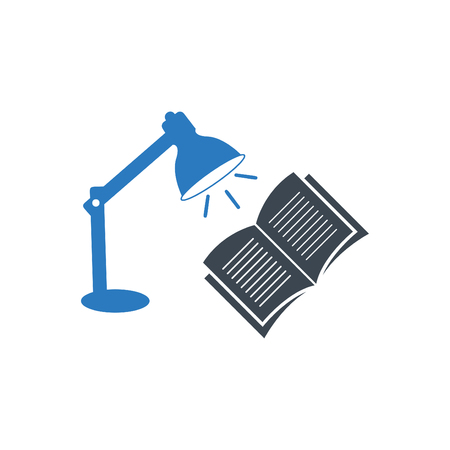 Blue desk lamp and an open book - Table lamp with open book icon