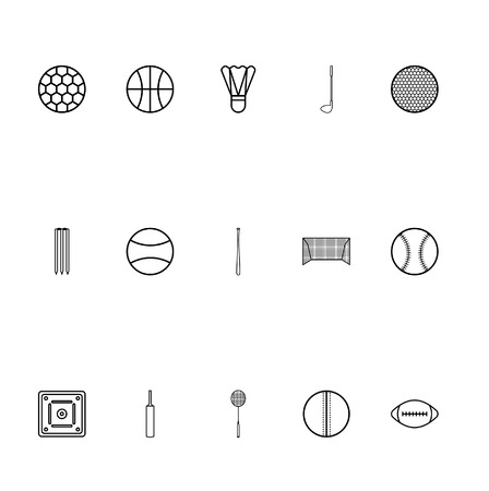 Sports icons in thin line style vector. Set of the icon to the sports 向量圖像